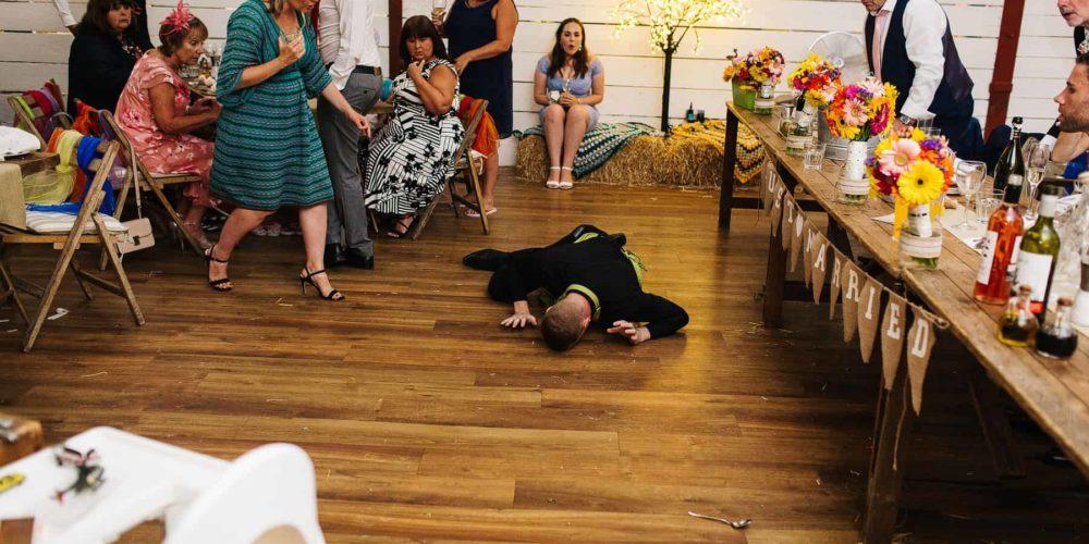 falling singing waiter surprising guests