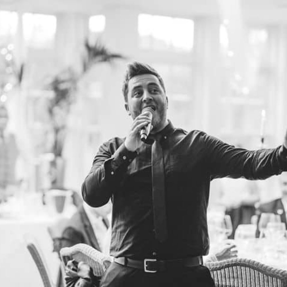 black and white singing waiter