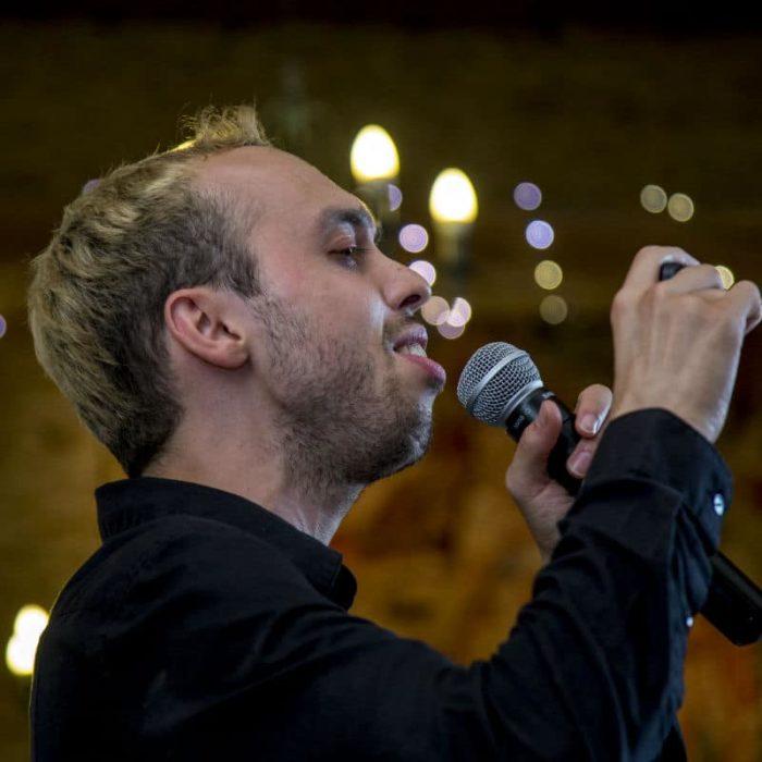 close up singing waiter