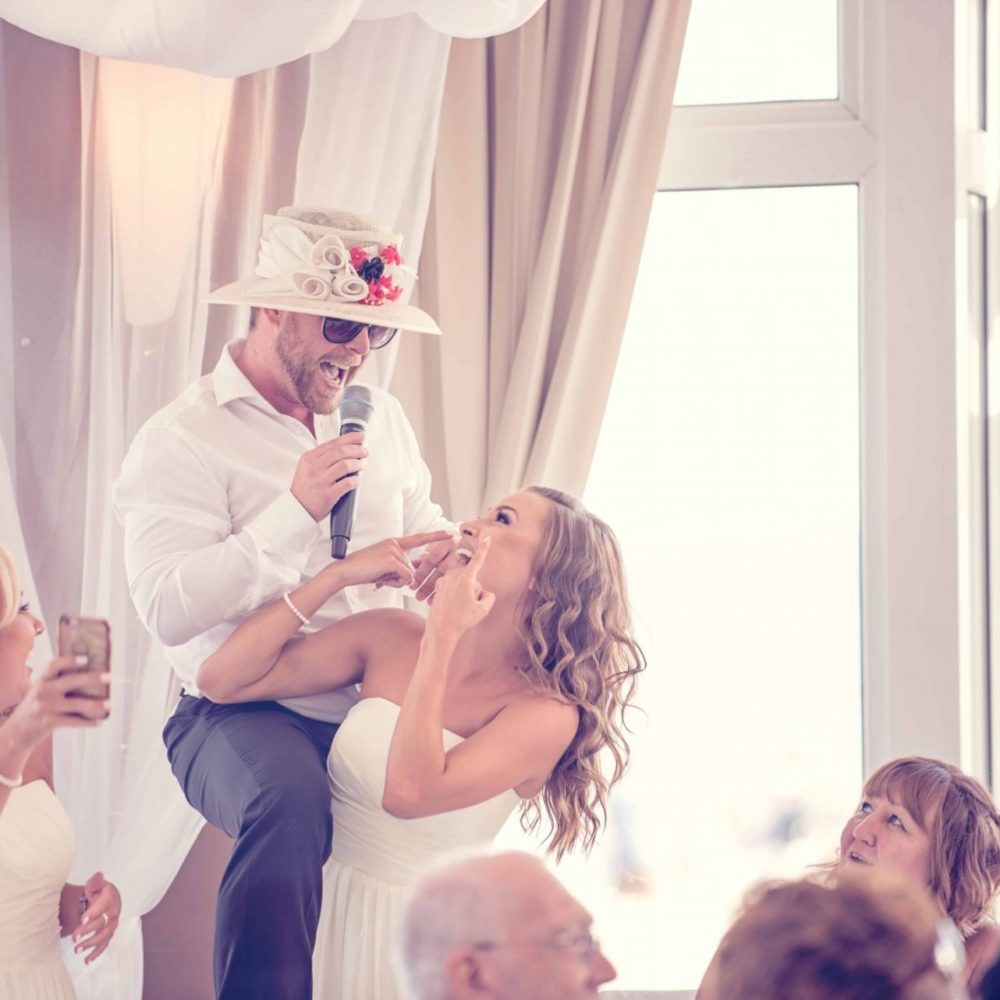 singing waiter with the bride